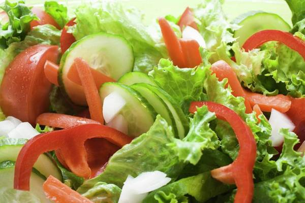 Cucurbit Photograph - Salad Leaves With Cucumber, Tomato, Carrots, Peppers (close-up) by Foodcollection