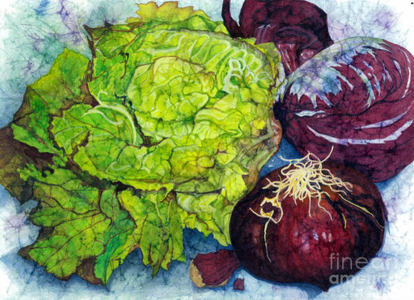 Red Onion Painting - Salad Starters by Barbara Jewell