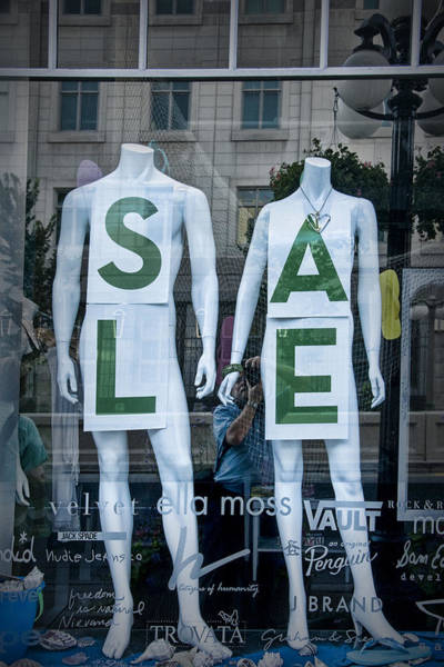 Photograph - Sale In Window Display With Mannequins In Toronto by Randall Nyhof