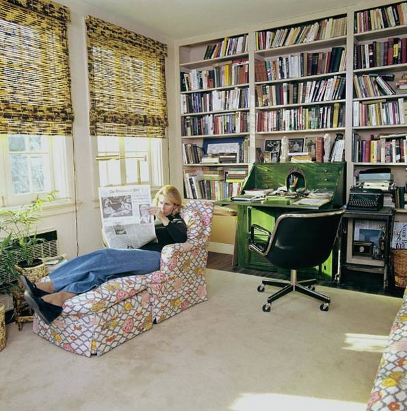 Sally Quinn Reading In The Study Room Art Print