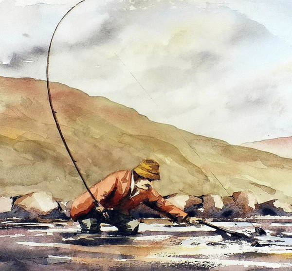 Mixed Media - Salmon Fishing In Ireland by Val Byrne