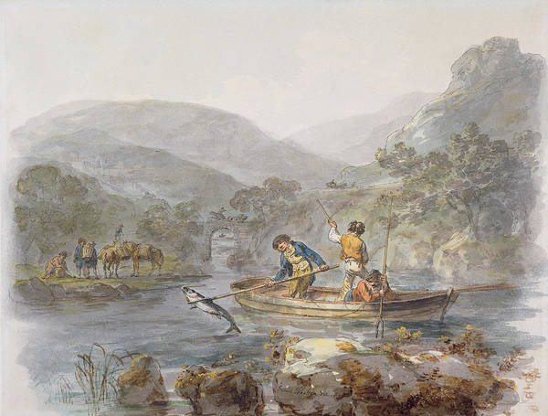 Angling Photograph - Salmon Spearing Graphite, Ink & Wc On Paper by Julius Caesar Ibbetson