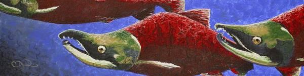 Spawn Painting - Salmon Trio by C Ryan Pierce