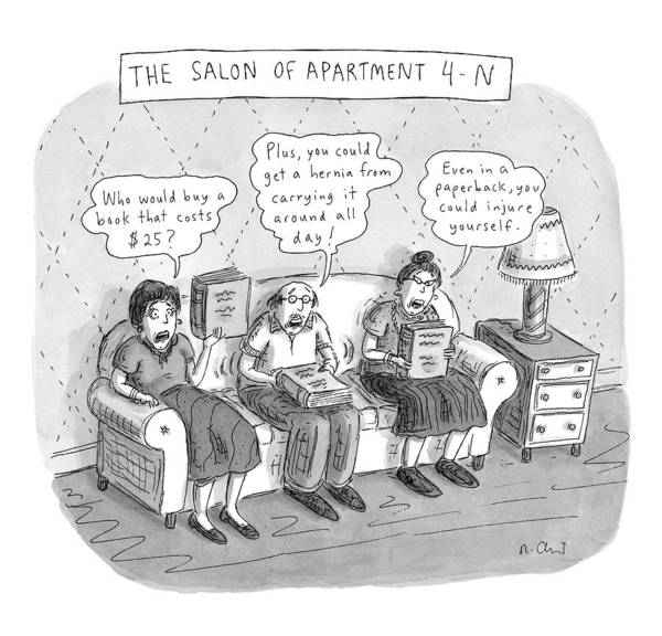 4 Drawing - Salon Of Apartment 4-n by Roz Chast
