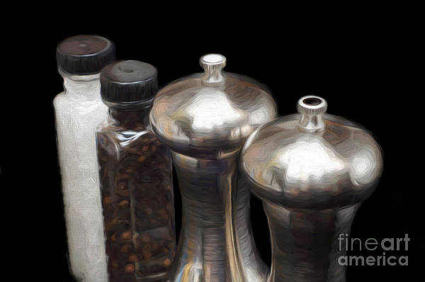 Mixed Media - Salt And Pepper Mills Painting  by Andee Design