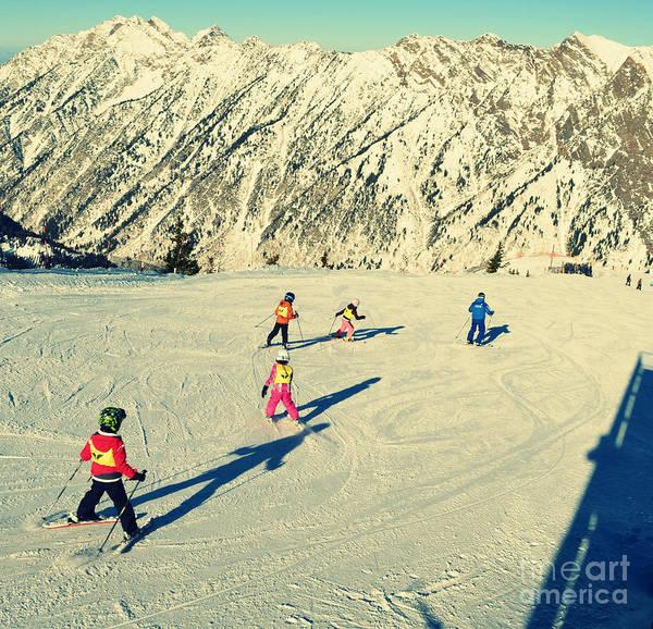 Paisaje Photograph - Salt Lake City Kids Skiing On The Mountain by Patricia Awapara