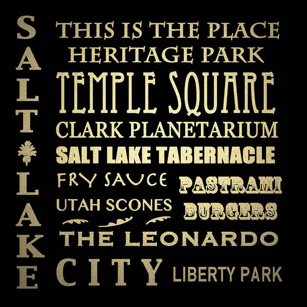 Famous Places Digital Art - Salt Lake City Famous Landmarks by Patricia Lintner