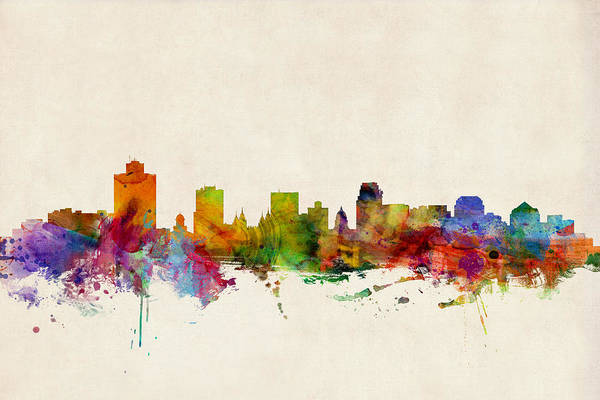 Lake Digital Art - Salt Lake City Skyline by Michael Tompsett