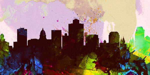 Wall Art - Painting - Salt Lake City Skyline by Naxart Studio