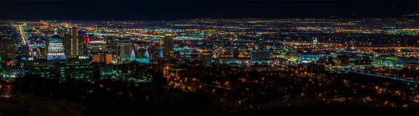 Photograph - Salt Lake City Utah Nightscape by TL  Mair