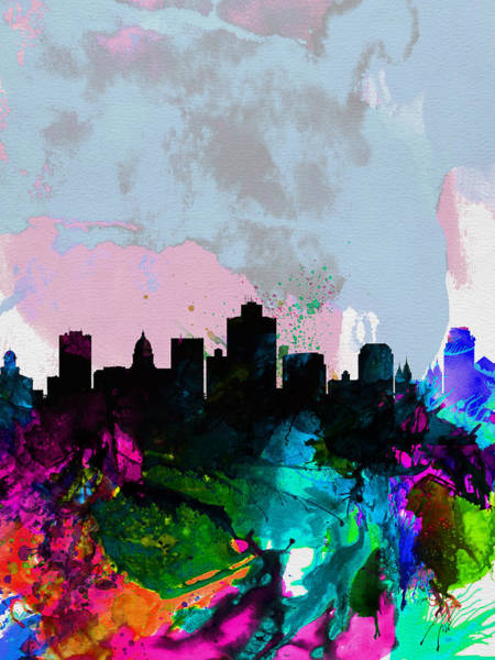 Salt Lake City Watercolor Skyline Art Print
