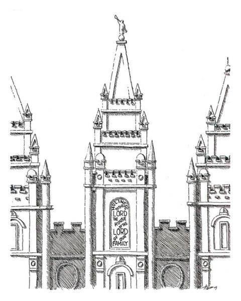 Wall Art - Drawing - Salt Lake Temple by Aaron Bodtcher