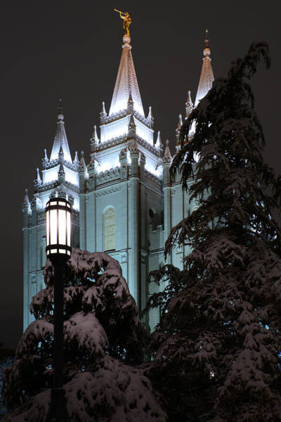 Photograph - Salt Lake Temple In The Snow by Dustin  LeFevre