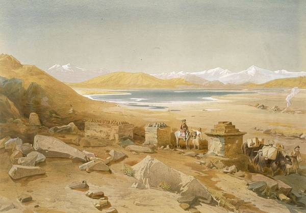 Nomad Drawing - Salt Lake - Thibet, From India Ancient by William 'Crimea' Simpson