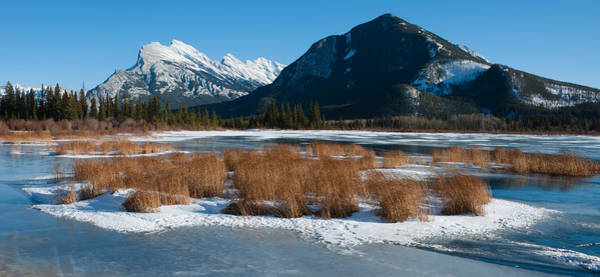 Vermillion Lakes Wall Art - Photograph - Salt Lake With Mountain Range by Panoramic Images