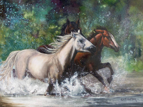 Wall Art - Painting - Salt River Horseplay by Karen Kennedy Chatham