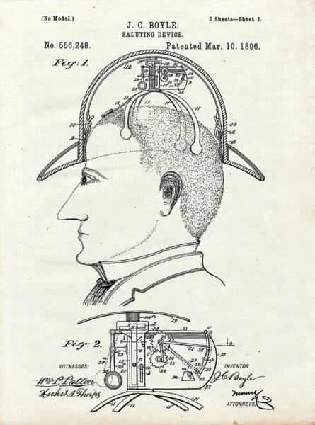 1896 Photograph - Saluting Hat Patent by Us Patent And Trademark Office