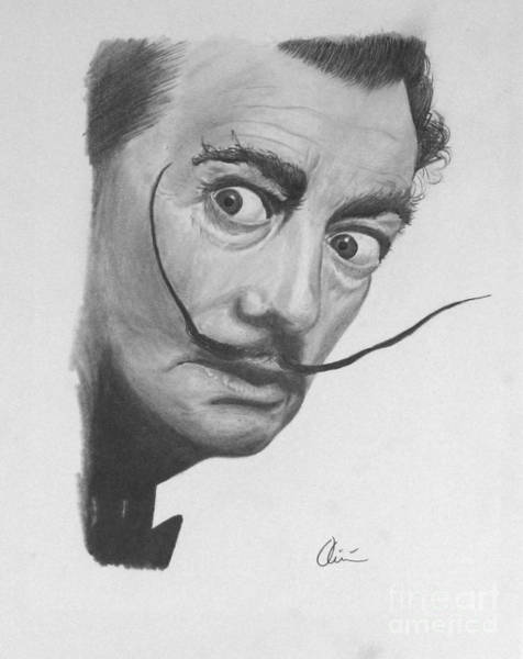 Spanish People Drawing - Salvador Dali Portrait by M Oliveira