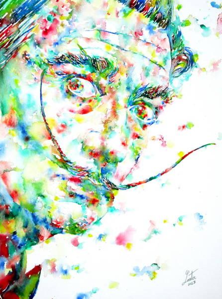 Salvador Dali Painting - Salvador Dali Watercolor Portrait by Fabrizio Cassetta