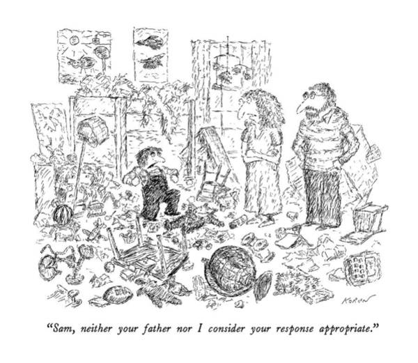 Destroy Wall Art - Drawing - Sam, Neither Your Father Nor I Consider by Edward Koren