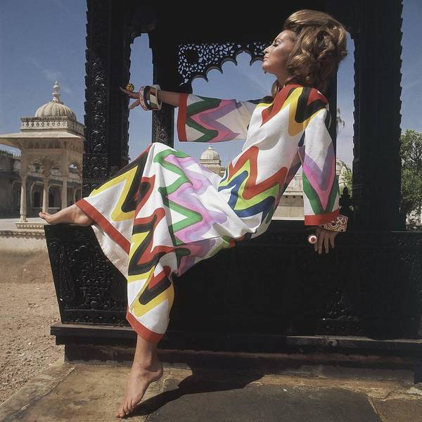 South India Photograph - Samantha Jones Wearing A Zigzag Print Caftan by Henry Clarke