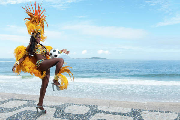 Photograph - Samba Queen Playing Soccer On The Beach by Emmanuel Aguirre