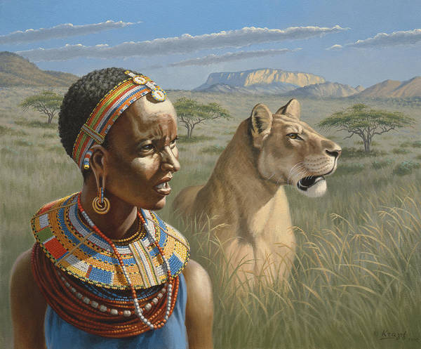 Lions Painting - Samburu Watchers   by Paul Krapf