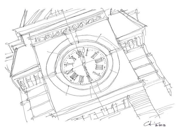 Toomer Wall Art - Drawing - Samford Clock Sketch by Calvin Durham