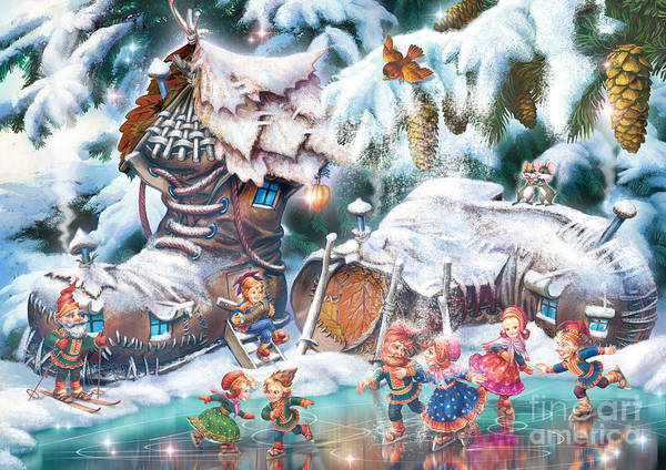 Winter Fun Digital Art - Sami Leprechauns by MGL Meiklejohn Graphics Licensing