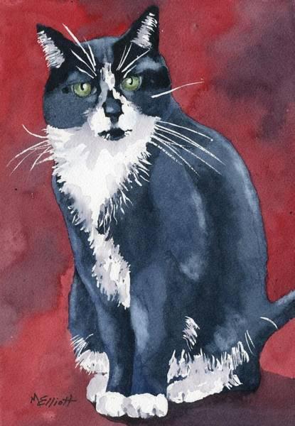 Tuxedo Cat Painting - Sami by Marsha Elliott