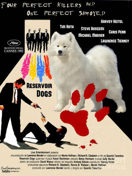 Reservoir Dogs Painting - Samoyed Art Canvas Print - Reservoir Dogs Movie Poster by Sandra Sij