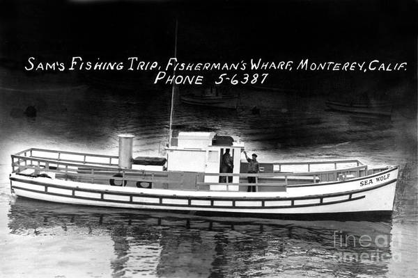 Photograph - Sams Fishing Trips Fishermens Wharf Monterey California Circa 1950 by California Views Archives Mr Pat Hathaway Archives