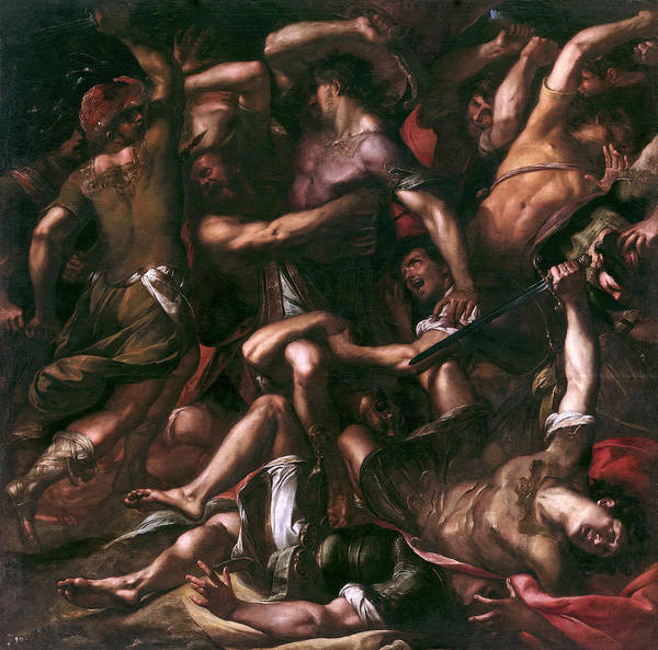 Cesare Painting - Samson And The Philistines by Giulio Cesare Procaccini