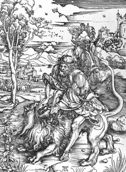 Killing Wall Art - Painting - Samson Slaying The Lion by Albrecht Durer or Duerer