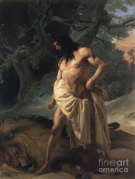 Dying Painting - Samson Slays The Lion by Francesco Hayez