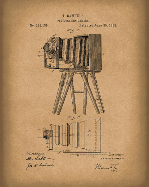 Drawing - Samuels Photographic Camera 1885 Patent Art Brown by Prior Art Design