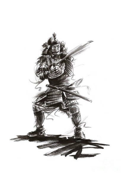 Wall Art - Painting - Samurai Complete Armor Warrior Steel Silver Plate Japanese Painting Watercolor Ink G by Mariusz Szmerdt