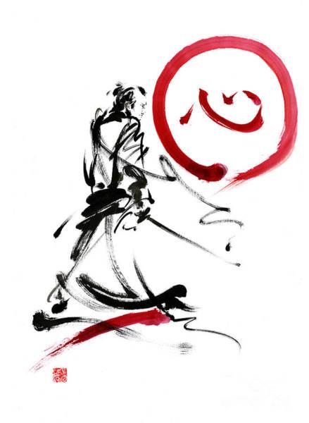 Bushido Painting - Samurai Enso Circle Wild Fury Bushi Bushido Martial Arts Sumi-e  by Mariusz Szmerdt