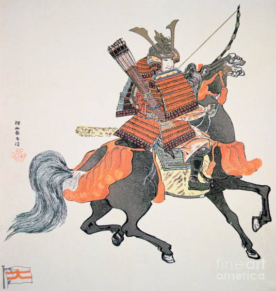 Horseback Wall Art - Painting - Samurai by Japanese School