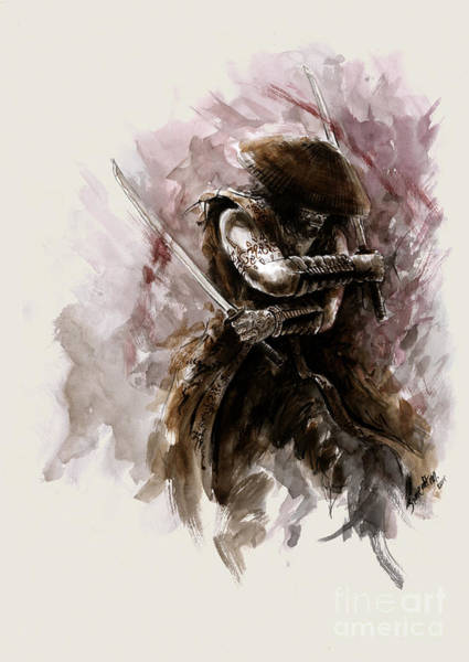 Wall Art - Painting - Samurai Monk by Mariusz Szmerdt