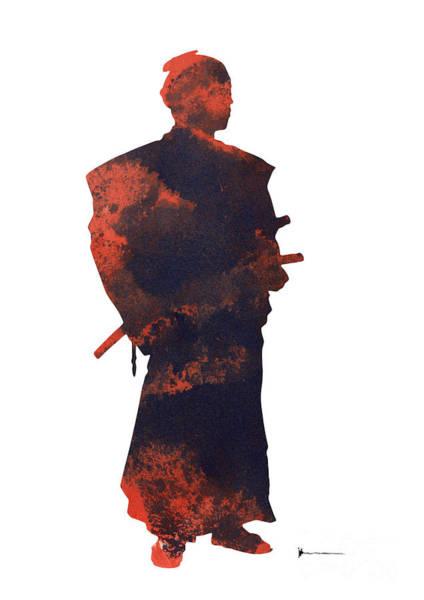 Samurai Painting - Samurai Silhouette Watercolor Art Print Painting by Joanna Szmerdt