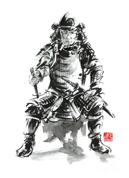 Bushido Painting - Samurai Sword Bushido Katana Armor Silver Steel Plate Metal Kabuto Costume Helmet Martial Arts Sumi- by Mariusz Szmerdt