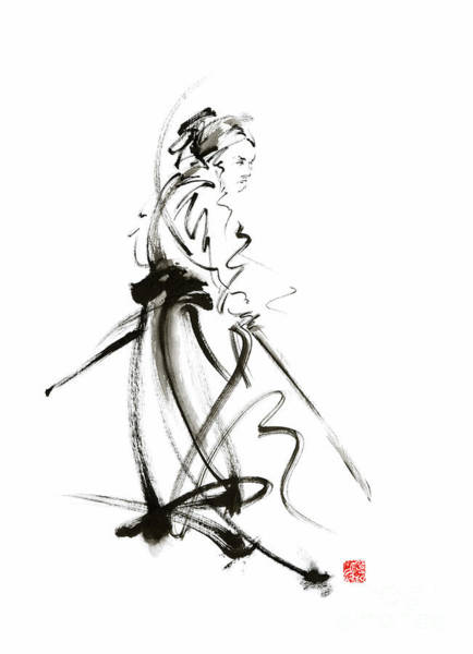 Wall Art - Painting - Samurai Sword Bushido Katana Martial Arts Sumi-e Original Ink Painting Artwork by Mariusz Szmerdt