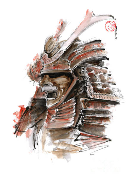 Wall Art - Painting - Samurai Warrior Japanese Armor  Full Face Mask by Mariusz Szmerdt