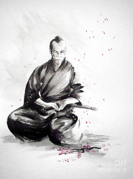 Wall Art - Painting - Samurai Warrior Japanese Martial Arts. Bushido. by Mariusz Szmerdt