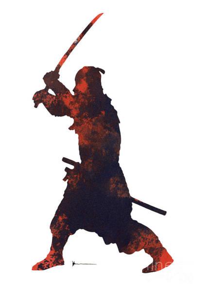 Bushido Painting - Samurai Warrior Silhouette Art Print Watercolor Painting. by Joanna Szmerdt