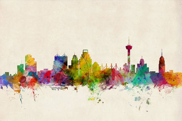 Watercolours Wall Art - Digital Art - San Antonio Texas Skyline by Michael Tompsett