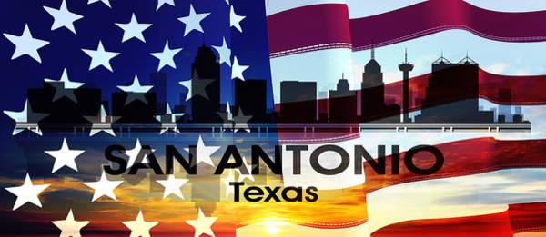 Mixed Media - San Antonio Tx Patriotic Large Cityscape by Angelina Tamez