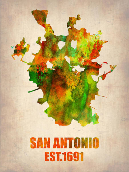 Map Painting - San Antonio Watercolor Map by Naxart Studio
