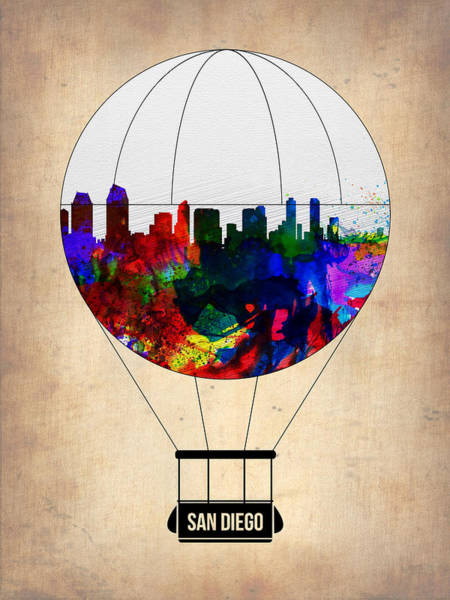 Tourist Painting - San Diego Air Balloon by Naxart Studio